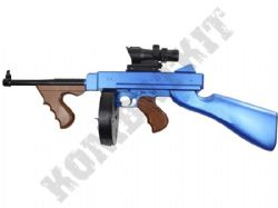 8903A BB Gun 1921 Tommy Gun Replica Spring Powered Airsoft Rifle 2 Tone Blue Black